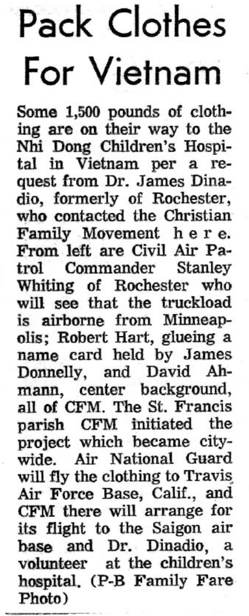 Newspaper clipping about 1,500 pounds of clothes being sent to Vietnam per the request of Dr. Donadio.