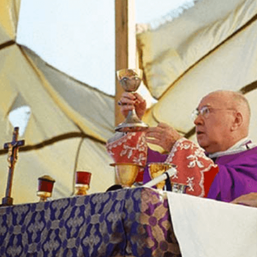 Catholic Cardinal raising a gold chalice.