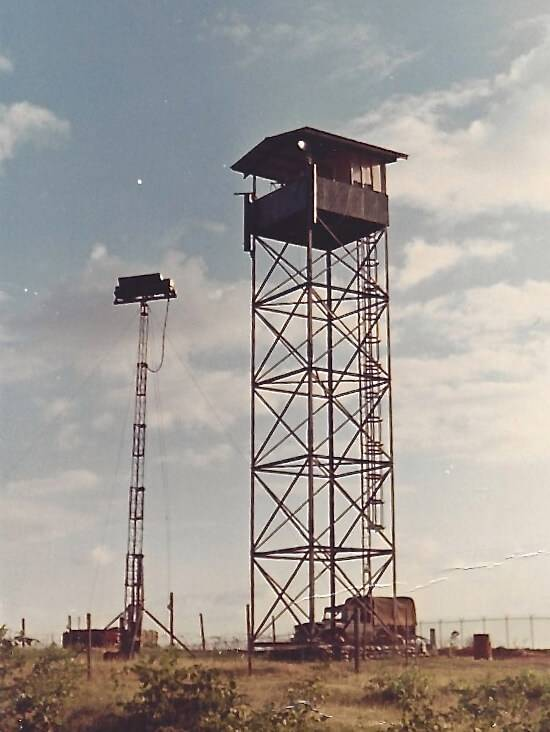 Watch tower and infrared light stretching tall into the air.
