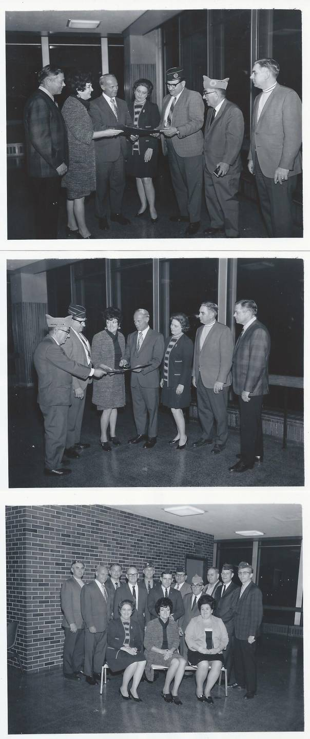 Three photos of civilian women, servicemen, and airport staff meeting and going over plans.