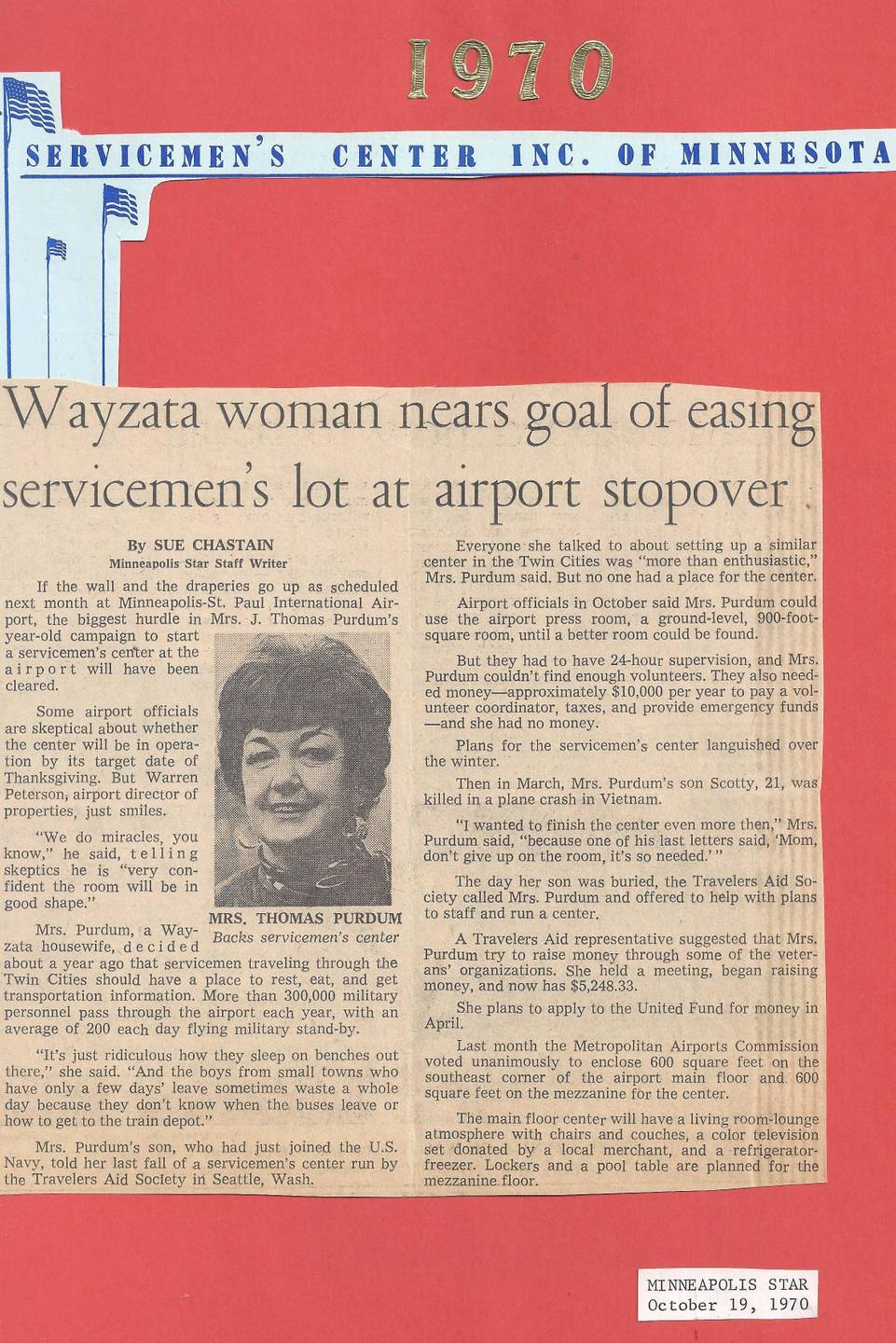 A news clipping from October 19, 1970 with an image of Maggie Purdum.