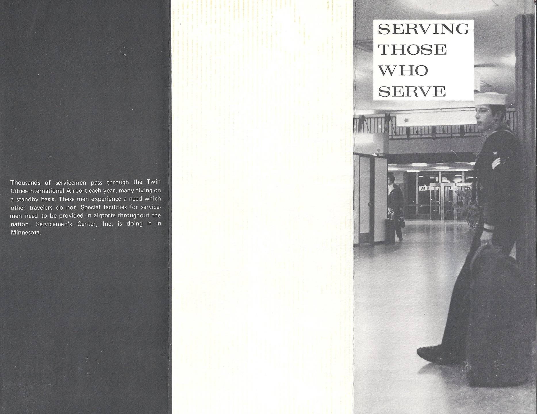 "Exterior of a tri-fold brochure: ""Serving Those Who Serve."""