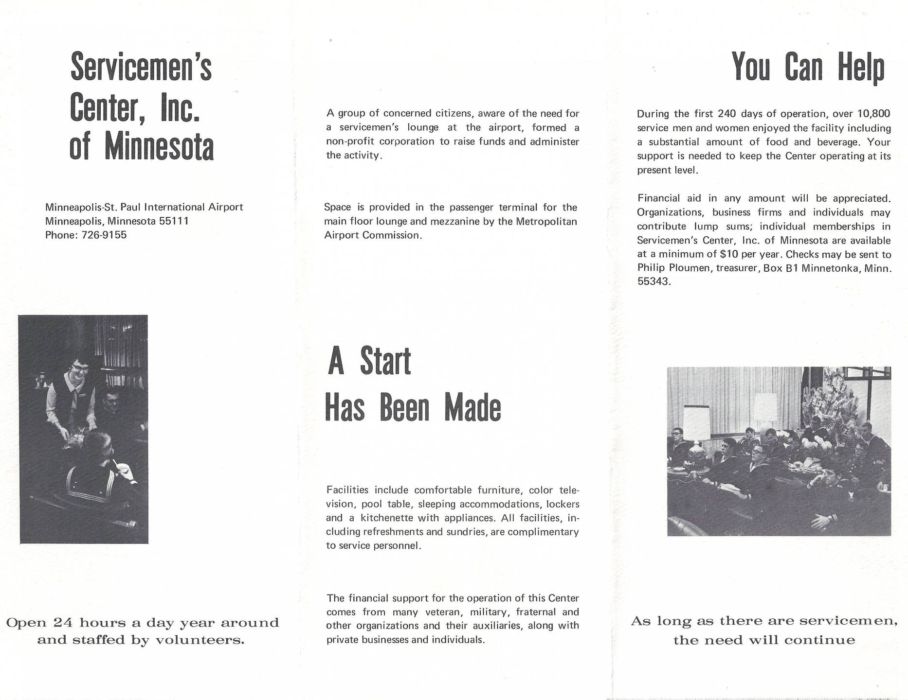 "Interior of a tri-fold brochure: ""A Start Has been Made,"" ""You Can Help."""