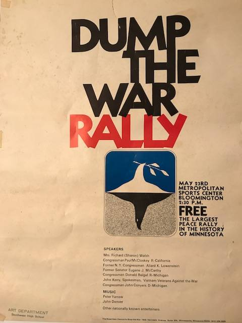 Poster with text: Dump The War Rally.