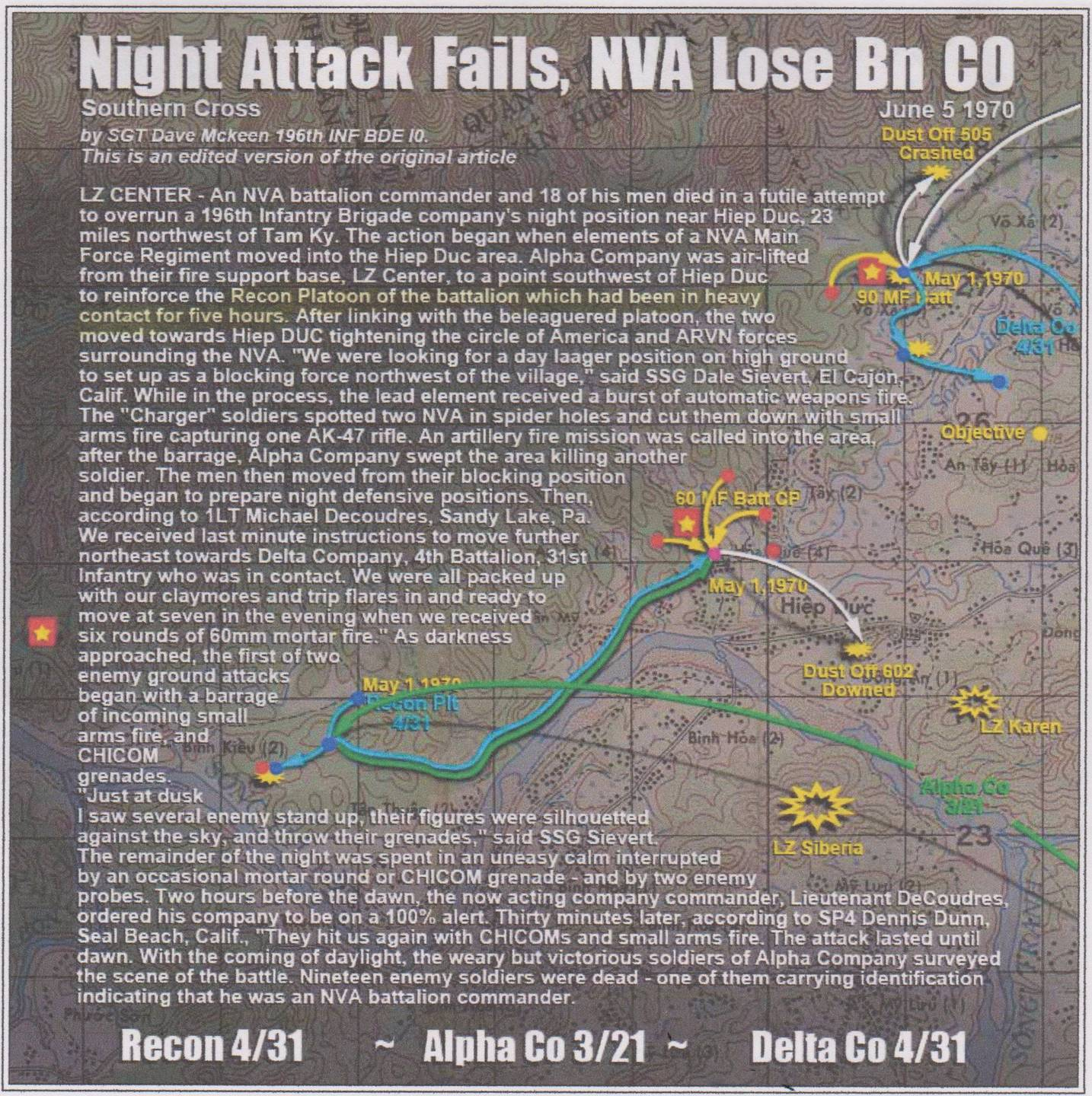 Map and text detailing a failed night attack.