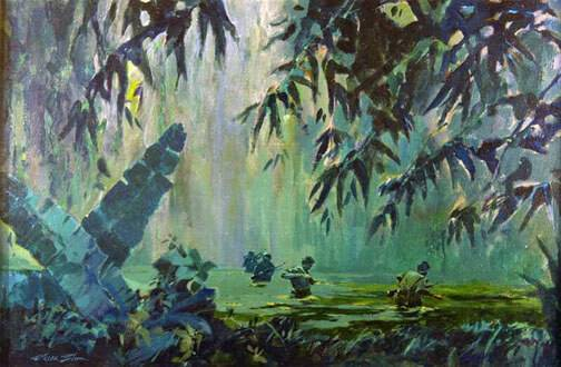 An artistic rendering of 4 soldiers walking waist-deep through a swamp and under the canopy of the jungle.