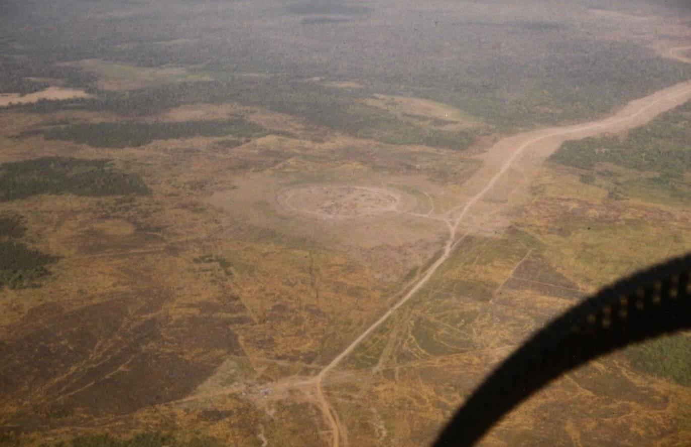 Aerial shot of barren land.