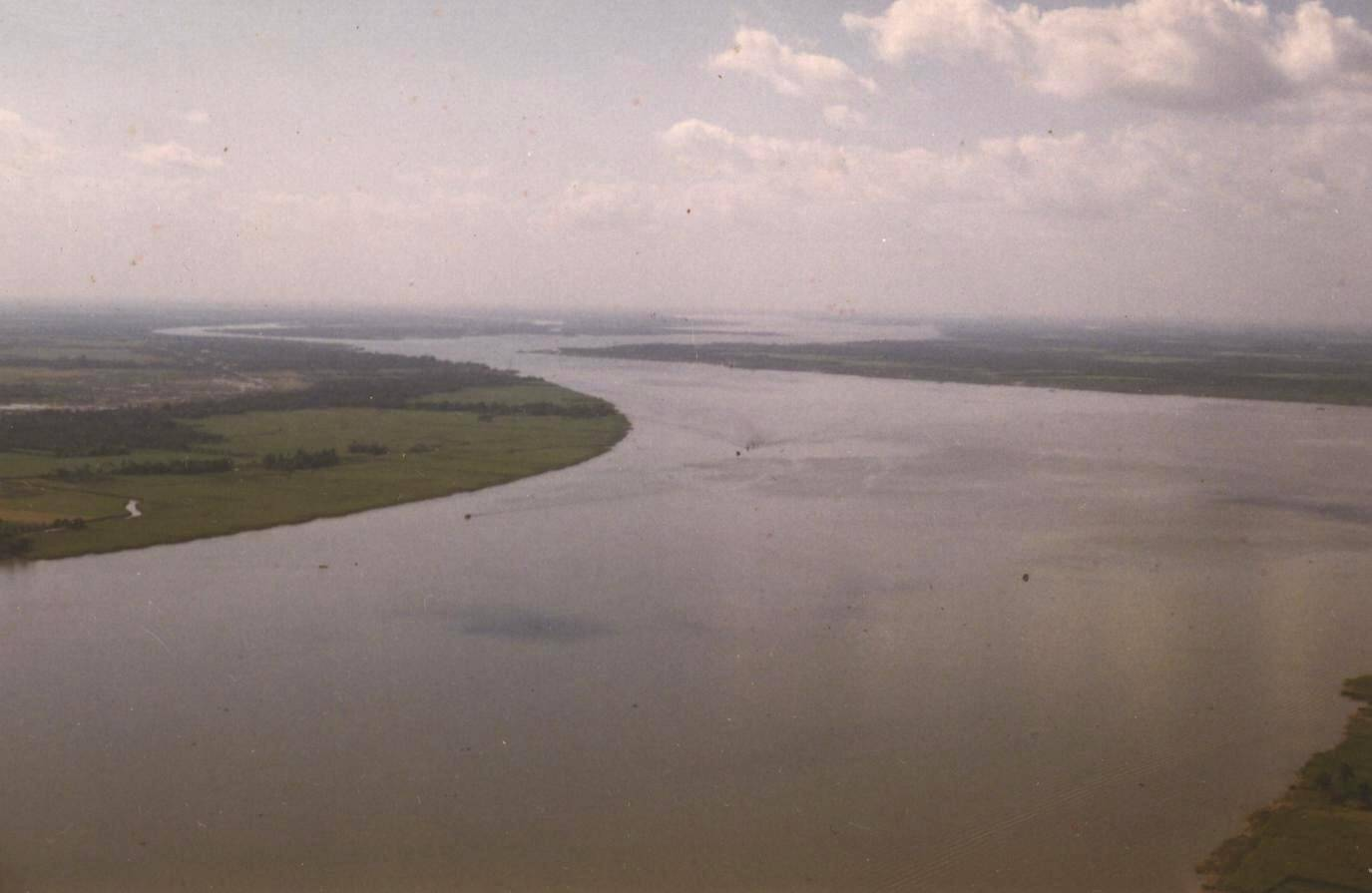 Overhead shot of a wide river.