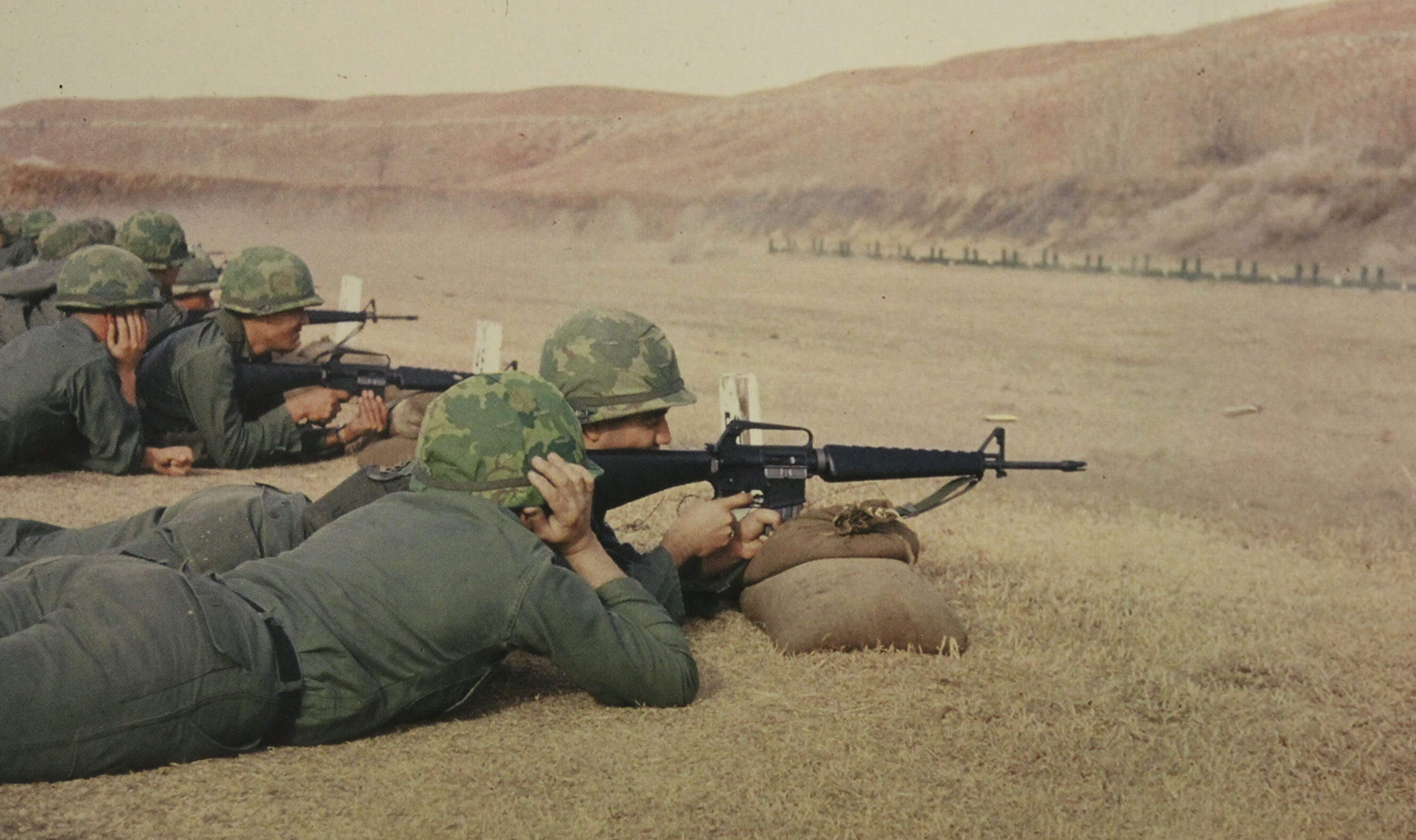 Rows of soldiers on their bellies, taking aim with their rifles at far away targets.