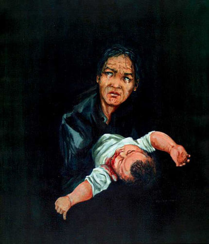 A stark painting of a crying woman, a bloody infant, against a black backdrop.