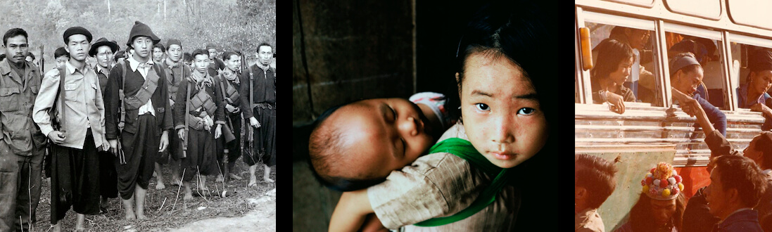 Collage of Hmong veterans and children.