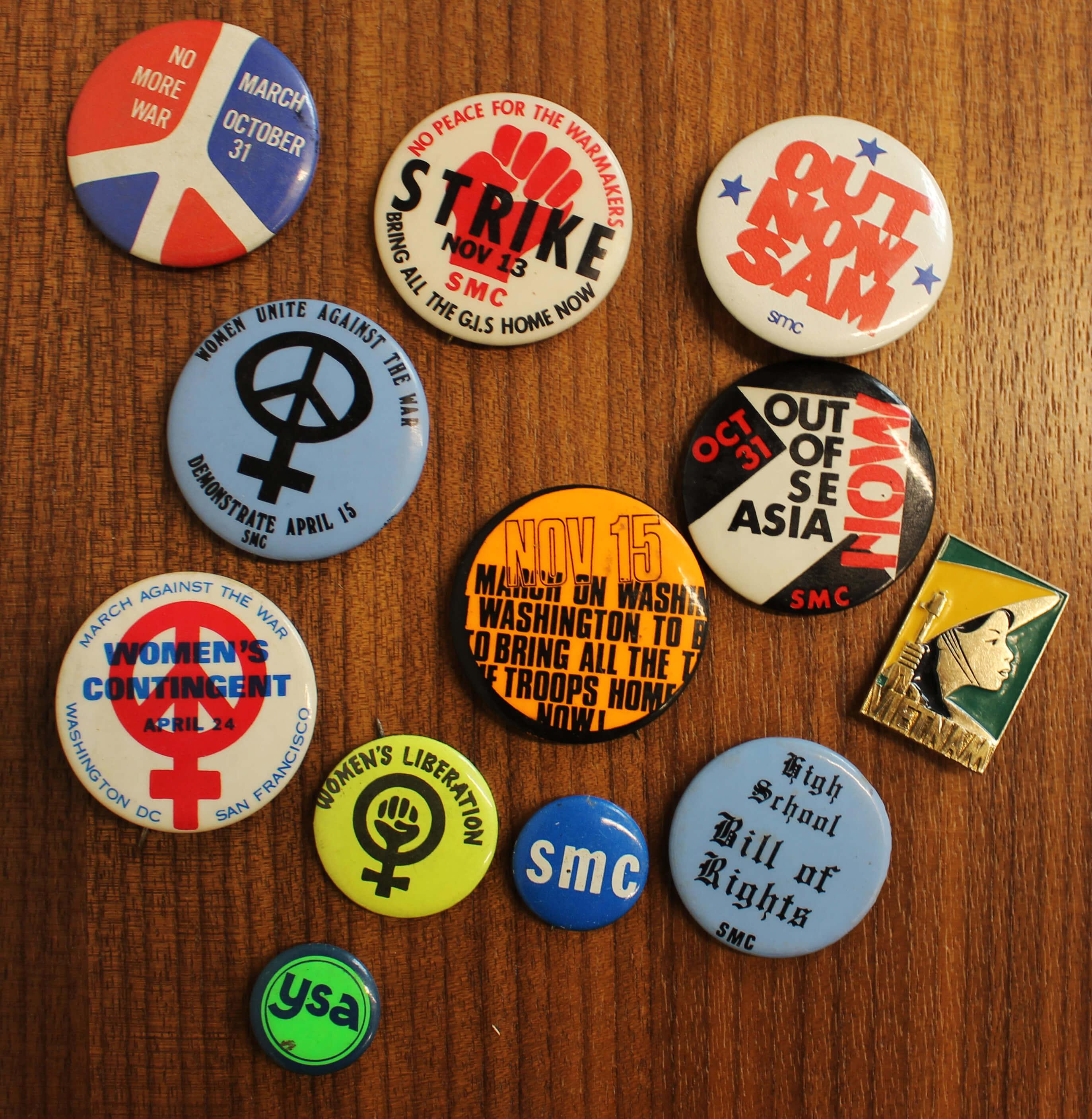 Antiwar movement buttons