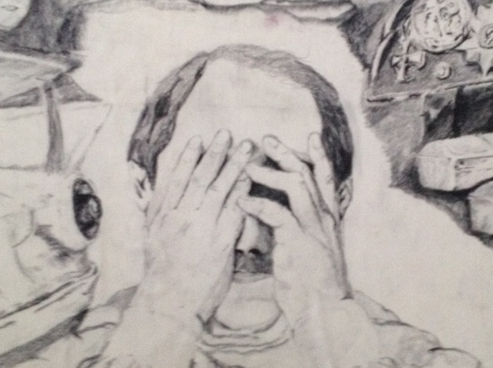 A close-up sketch of a man with his hands over his face, visual clutter around the perimeter of the drawing.