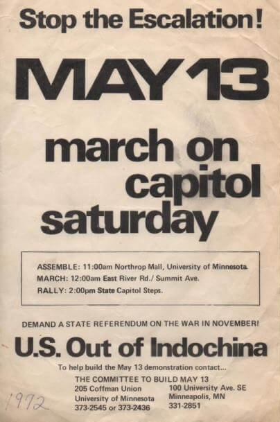 "Leaflet that says ""Stop the escalation! May 13 march on capitol saturday. U.S. Out of Indochina."""