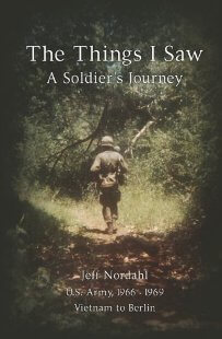"Book jacket with a soldier walking from shadows into light. Text: ""The Things I Saw: A Soldier's Journey."""
