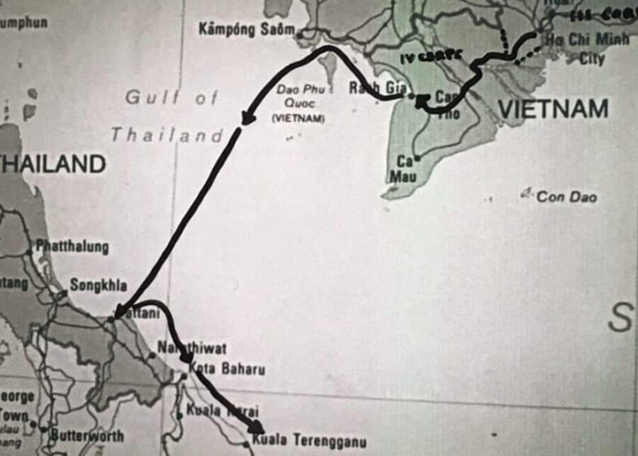Black and white map of Vietnam, Gulf of Thailand, Thailand with arrows detailing escape route.