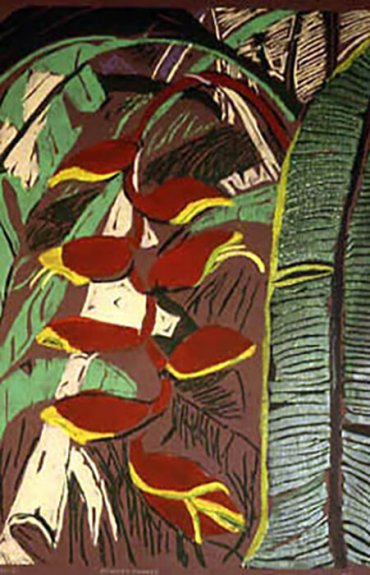 Artistic rendering of a plant; brown, red, yellow, and green ink.