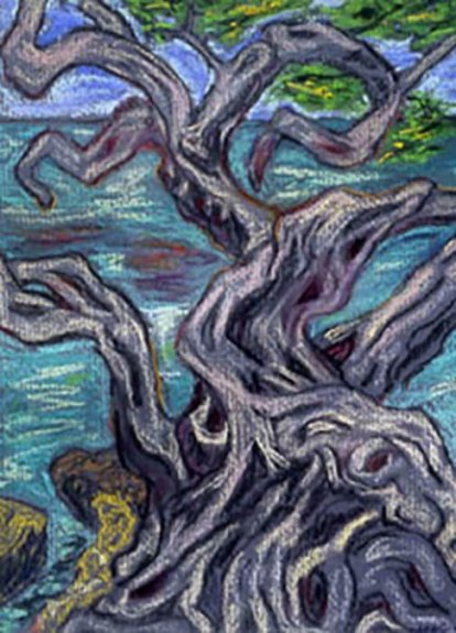 Artistic rendering of a gnarled tree against a body of water; hues of grey, aqua, and green.