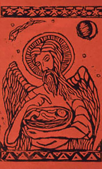 Artistic rendering of a bearded angel with an infant cradled in his arms; black ink on red background.