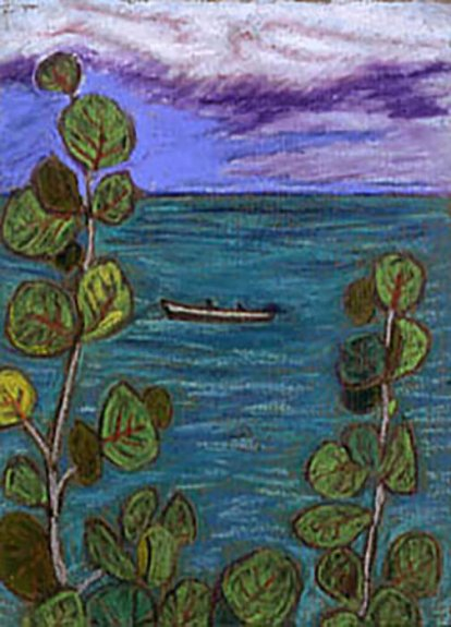 Artistic rendering of an ocean vista; plant in the foreground, water and a small boat in the middle ground, blue and cloudy skies in the background.