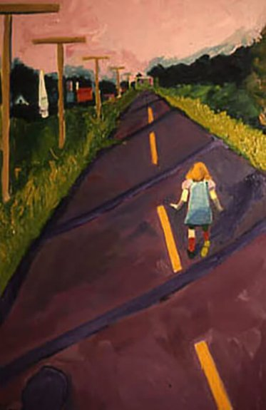 Artistic rendering of a small child walking down a road lined with telephone poles at sunset, back turned to the viewer.