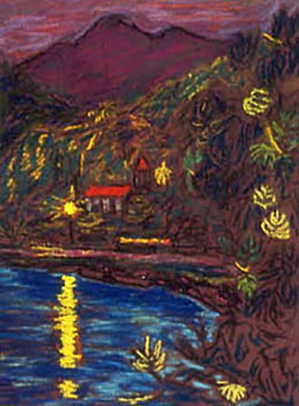 Artistic rendering of a coastal village at night; warm lights reflecting on the water; a brown mountain rising in the distance.