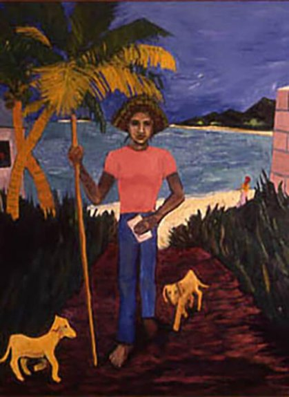 Artistic rendering of a person in a tropical location, holding a staff in the right hand and a piece of paper in the left; two dogs at feet; body of water and palms in the background.