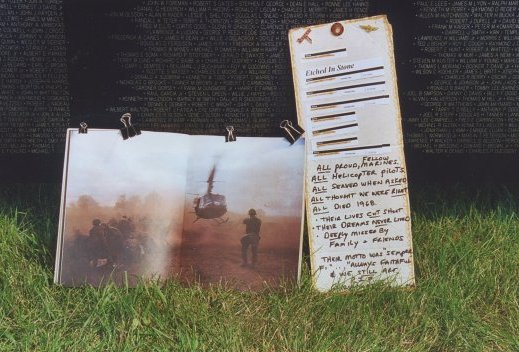 Close up of tributes brought to a scaled-down replica of the Vietnam Wall.