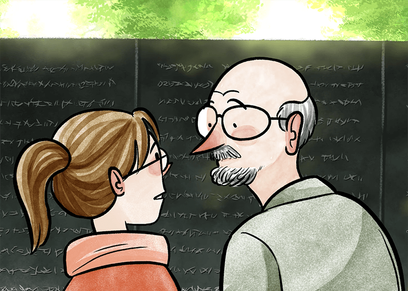 An illustration of an older man and a younger woman looking at one another and facing the Vietnam Wall.