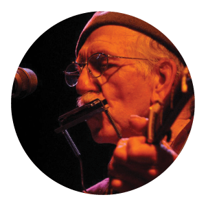 Circular portrait of a man playing the harmonica and guitar.
