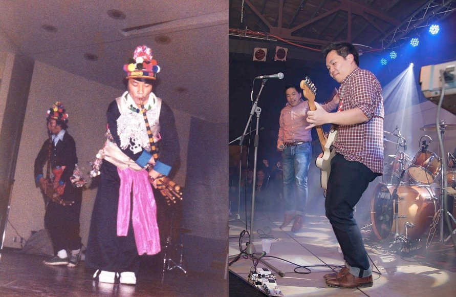 Hmong musicians play on stage.