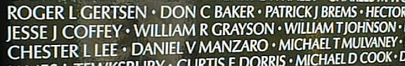A close up of names on the Vietnam Veterans Memorial, including the name Patrick J Brems, Chester L Lee and Michael T Mulvaney.