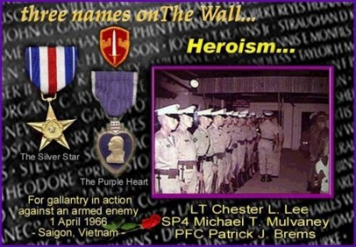 A photoshopped image of the Vietnam Veterans Memorial with medals of honor and a photo of soldiers in formation. A tribute to LT Chester L Lee, SP4 Michael T Mulvaney, and PFC Patrick J. Brems.