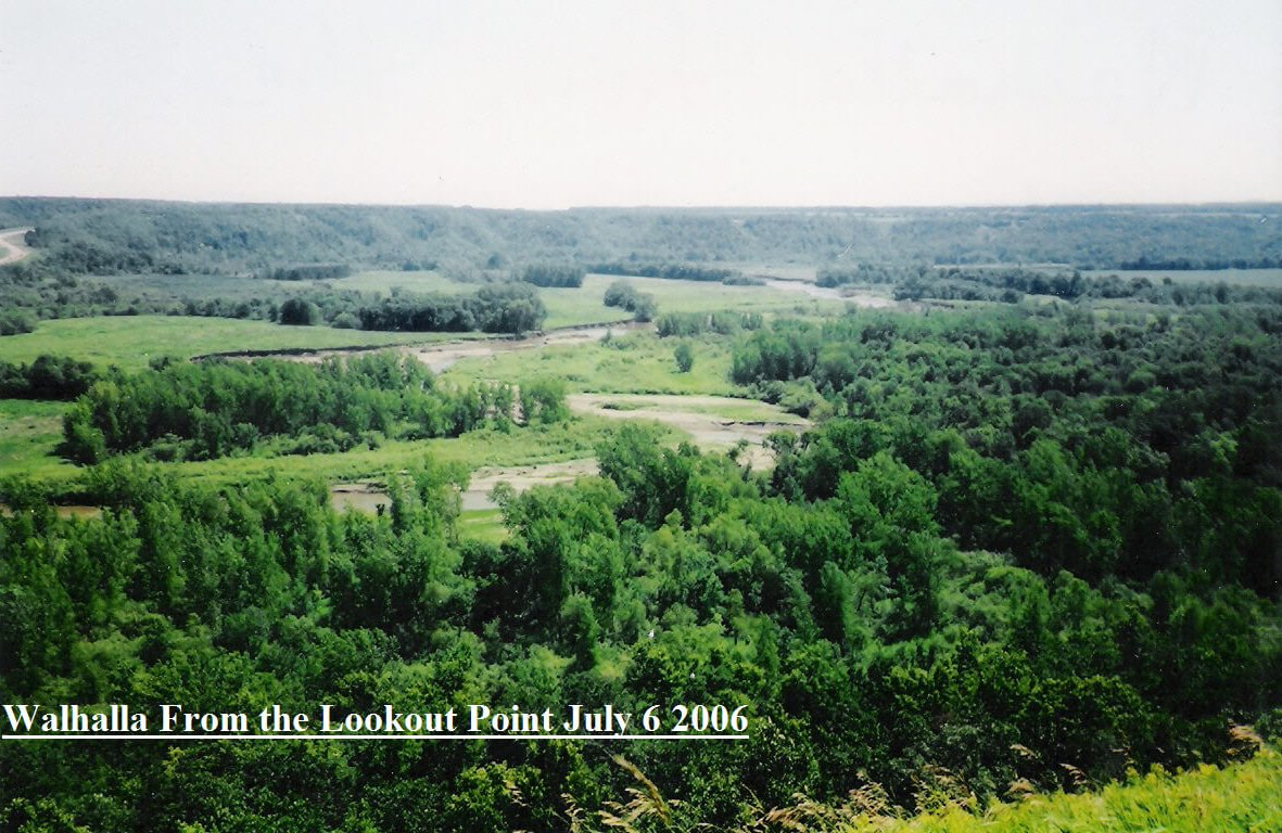 "A Midwestern landscape. Text on photo says ""Walhalla from the lookout point July 6 2006."""