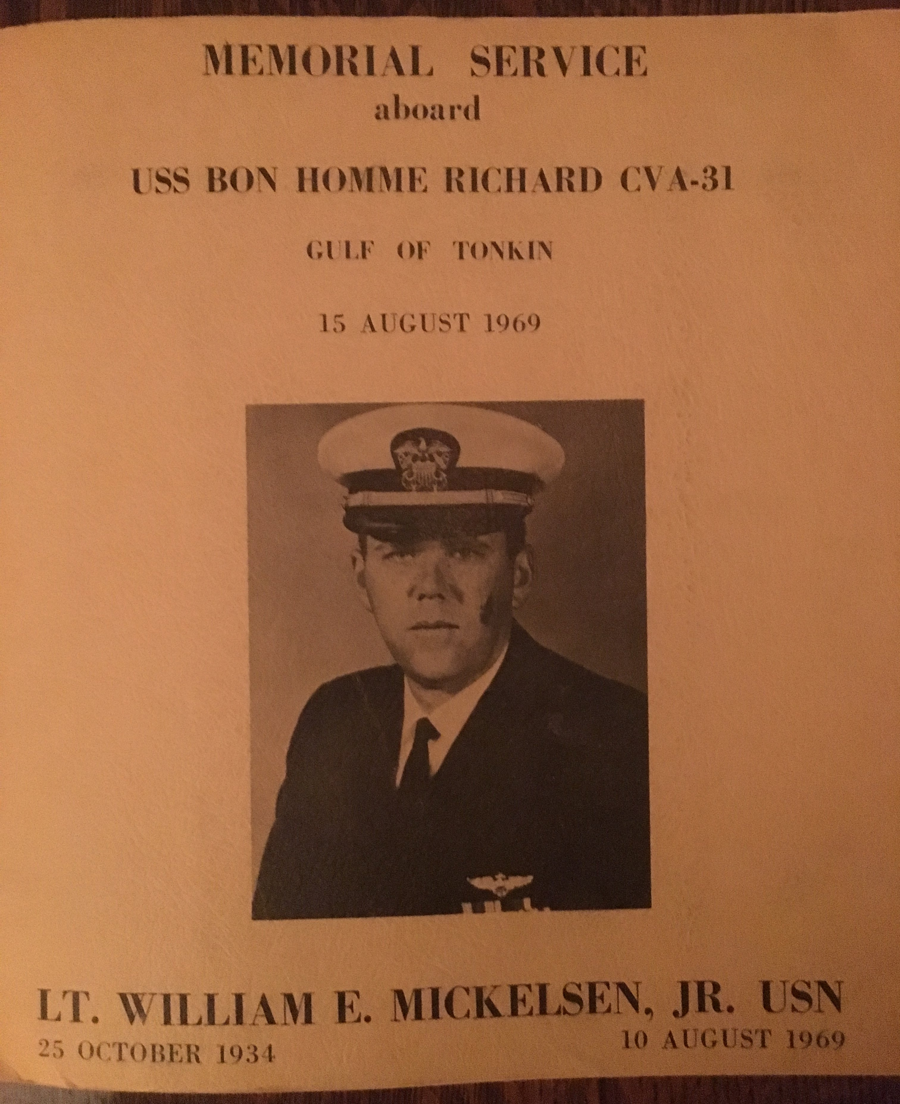 A page from a memorial service program for Lt. William E. Mickelsen, Jr. USN. 25 October 1934 - 10 August 1969.
