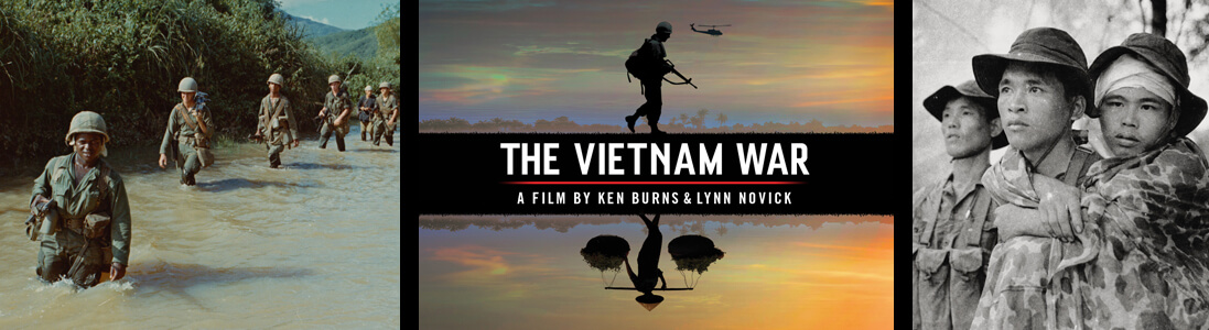 Imahges of the Vietnam War and a graphic for The Vietnam War series by Ken Burns and Lynn Novick