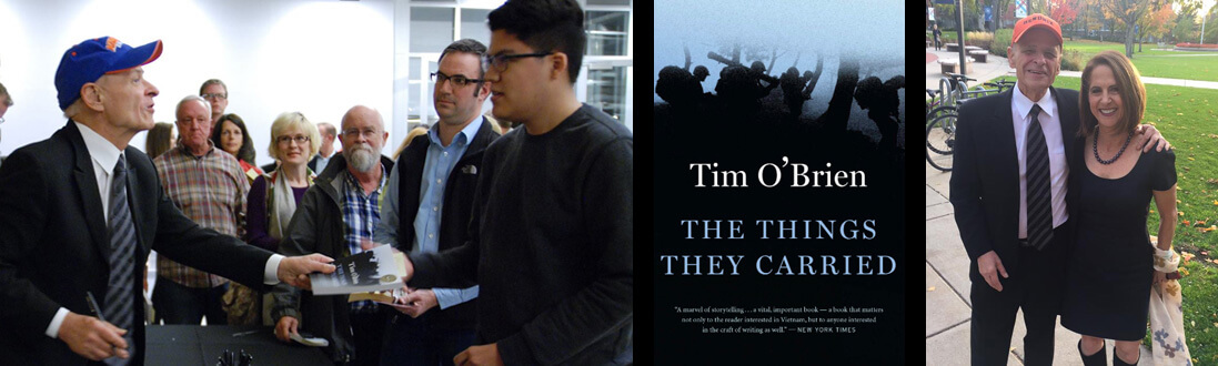 Tim O'Brien at a book-signing, cover of The Things They Carried book, Tim O'Brien with Lynn Novick