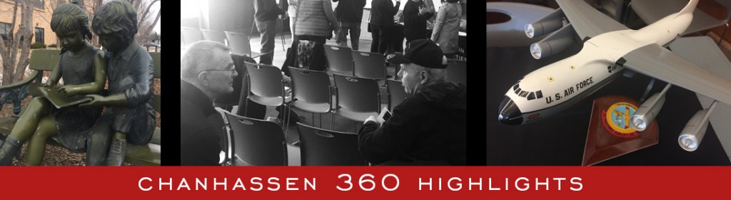 Chanhassen 360 Highlights graphic with photos of people at a library.