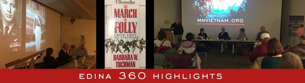 Collage of photos of people at a library presentation and graphics that say Edina 360 Highlights.