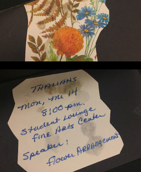 Handmade invitation with flowers on the front.