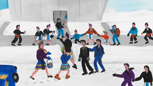 Artistic rendering of Hmong people gathering in a snowy setting to enter a white building.