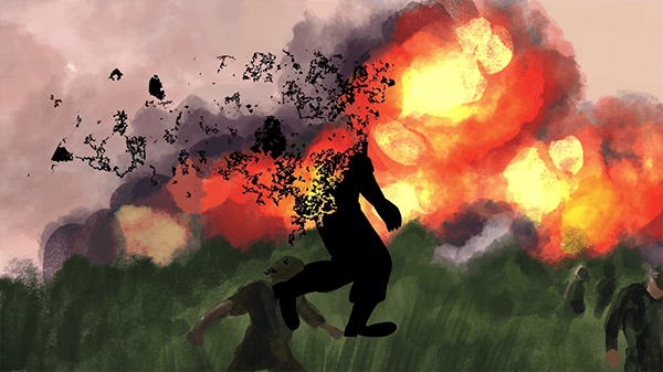 Artistic rendering cartoon of a silhouette of a soldier walking in front of a firey war zone; the soldier is disintegrating and blowing away.