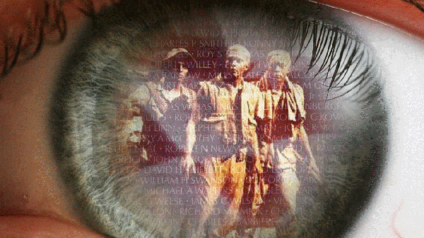 Artistic rendering of the statues of soldiers from the Vietnam Veterans Memorial being reflected back in a blue eye ball.