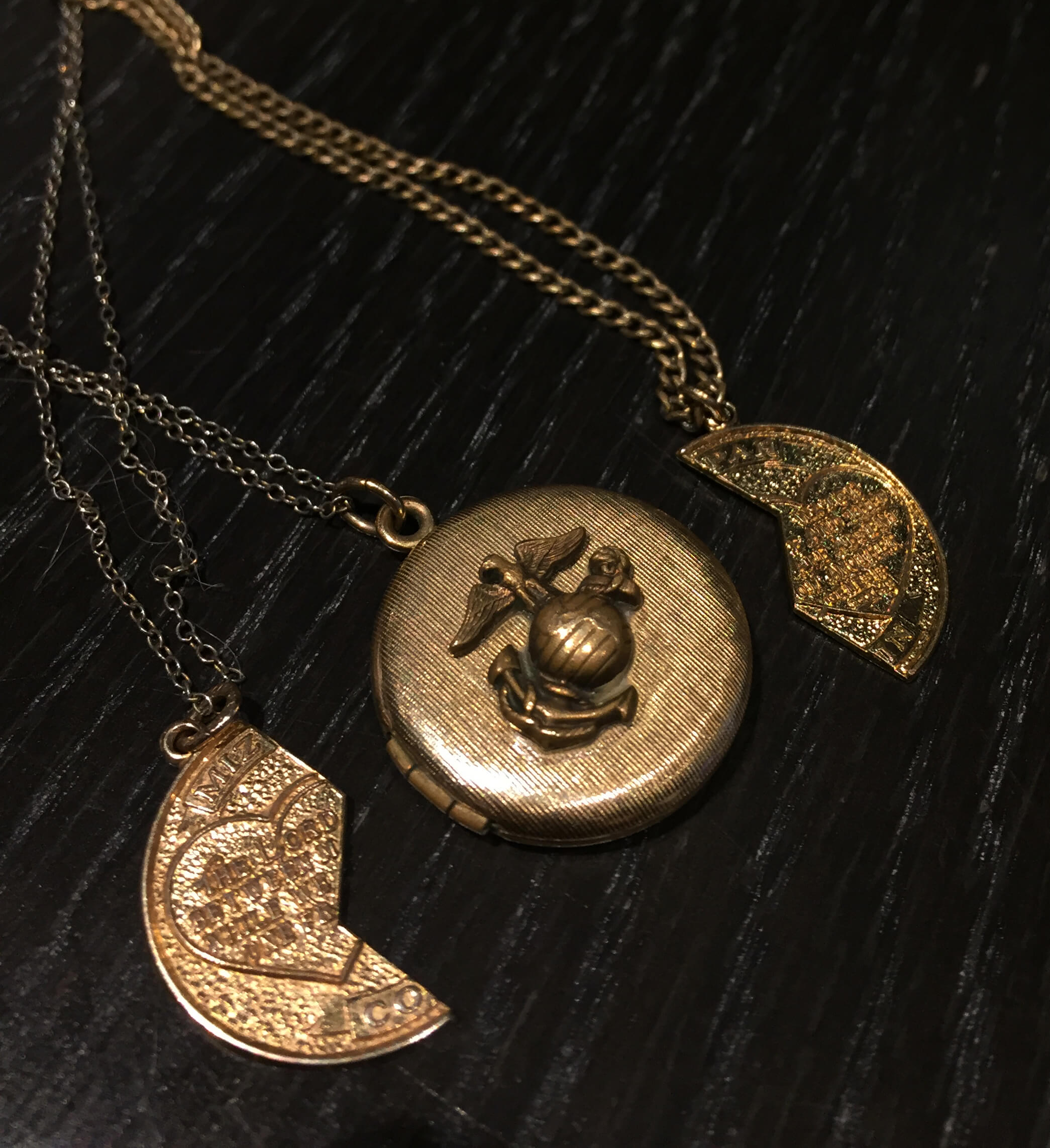 Heart and military locket necklace