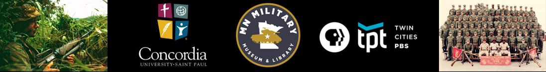 Vietnam War soldiers, and Concordia University, Minnesota Military Museum and Twin Cities PBS logos