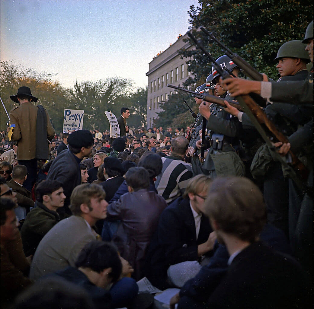 Students protest the Vietnam War outside of the Pentagon