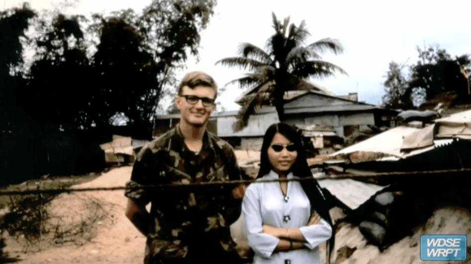 Vietnam soldier and Vietnamese woman