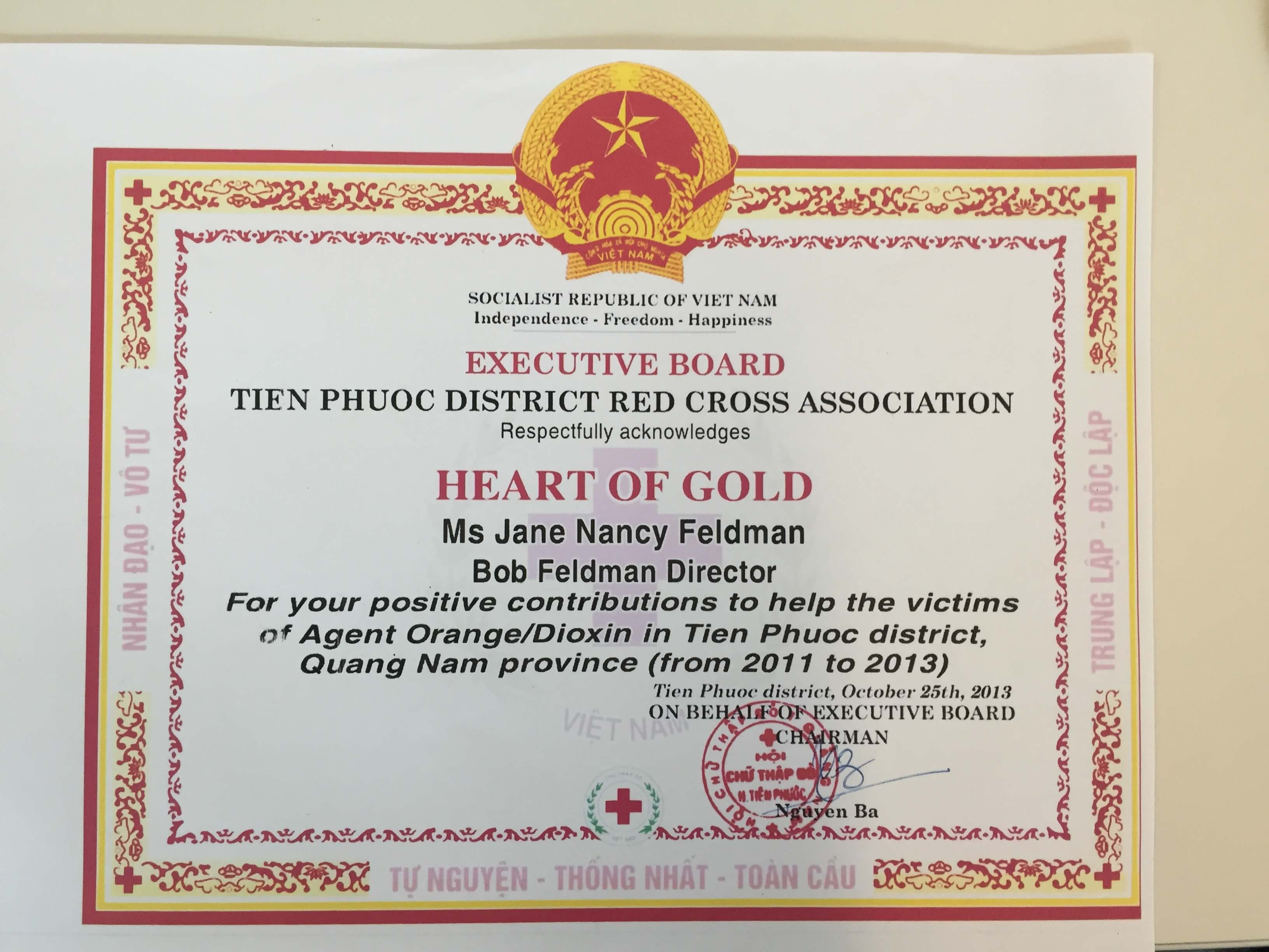 Award recognizing people for their work with Agent Orange victims