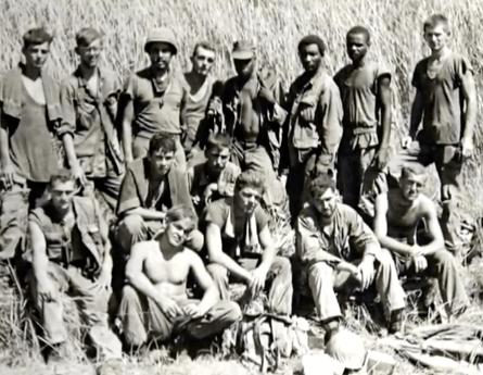 Black and white photo of a group of Vietnam veterans