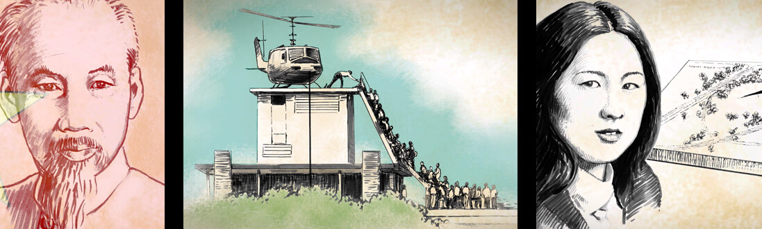 Drawings of Ho Chi Minh, Helicopter rescuing people during the Fall of Saigon, Maya Lin and the Vietnam Wall
